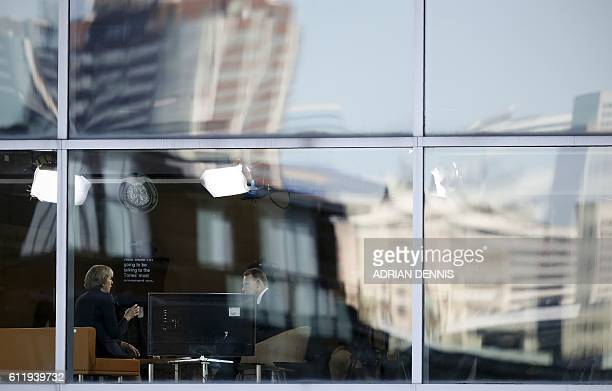 Britain's Prime Minister Theresa May speaks with journalist Andrew Marr during a televsion interview at the BBC studio in Birmingham central England...
