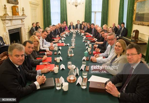 Britain's Prime Minister Theresa May leads her first cabinet meeting of the new year following a reshuffle at 10 Downing street in central London on...