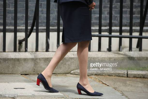 Britain's Prime Minister Theresa May's shoes are pictured as she walks to greet Nepal's Prime Minister K P Sharma Oli on his arrival at 10 Downing...