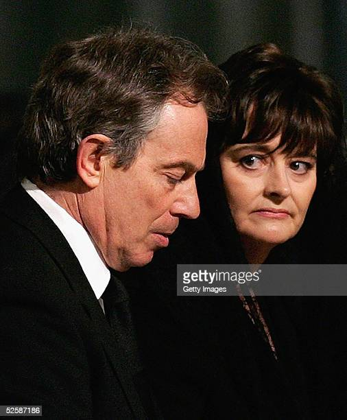 Britain's Prime Minister Tony Blair and his wife Cherie attend a service in memory of Pope John Paul II at Westminster Cathedral April 4, 2005 in...