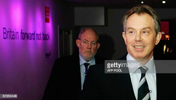 Britain's Prime Minister Tony Blair and Home Secretary Charles Clarke arrive at a news conference to outline the Labour party's election manifesto...