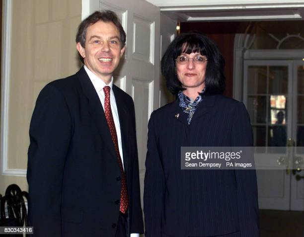 Britain's Prime Minister Tony Blair greets Ms Julie Bradburn Nurse Practitioner at Spinal Assessment Clinic at North Tees Hospital before a Nursing...