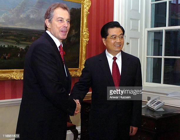 Britain's Prime Minister Tony Blair greets President Hu Jintao of China inside 10 Downing Street The President is in the country on a state visit