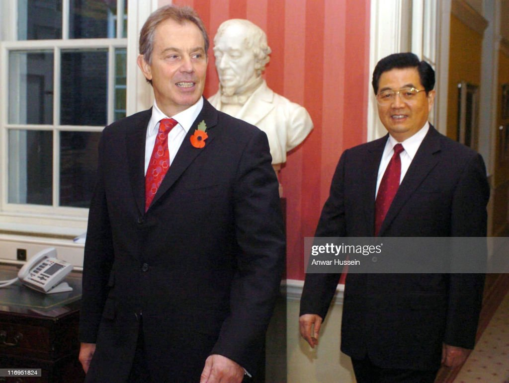 Prime Minister Tony Blair Greets Chinese President Hu Jintao at 10 Downing Street - November 9, 2005
