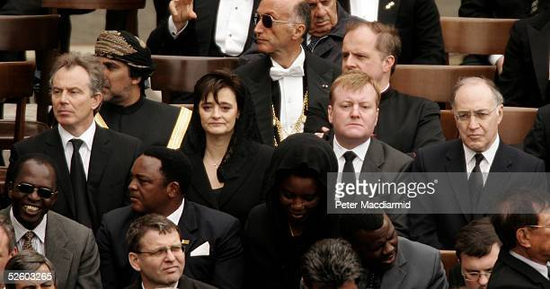 Britain's Prime Minister Tony Blair , his wife Cherie, Liberal Democrat Party leader Charles Kennedy and Conservative Party leader Michael Howard...
