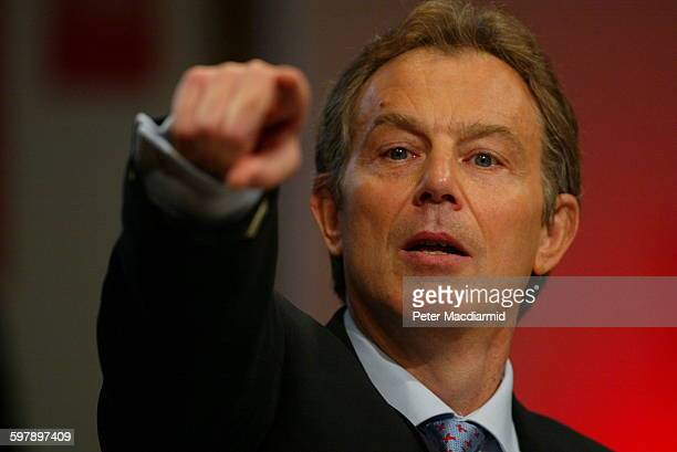 Britain's Prime Minister Tony Blair launches his party's European Election campaign at Canary Wharf in London, May 10th 2004.