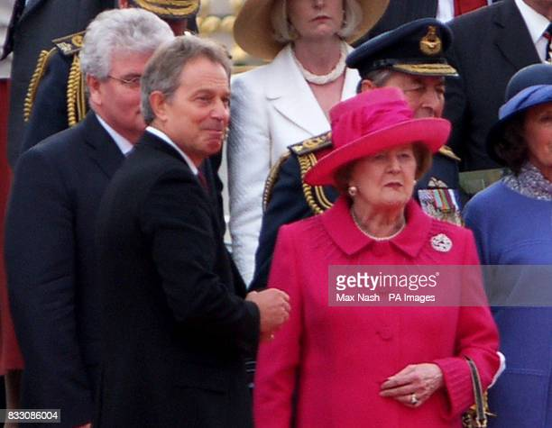 Britain's Prime Minister Tony Blair left with former Prime minister Baroness Thatcher during today's service in London to mark the 25th anniversary...