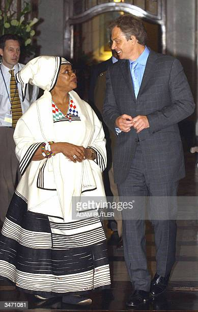Britain's Prime Minister Tony Blair talks to the South African High Commisioner Dr. Lindiwe Mabuza while visiting South Africa House in central...