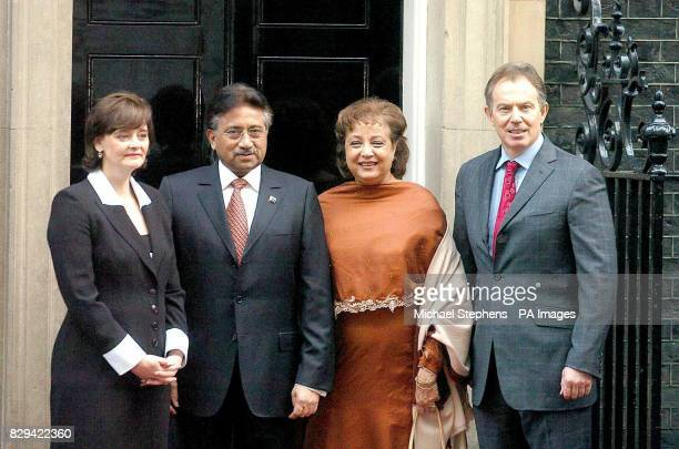 Britain's Prime Minister Tony Blair with wife Cherie greets Pakistani president General Pervez Musharraf and his wife Begum Sehba outside 10 Downing...