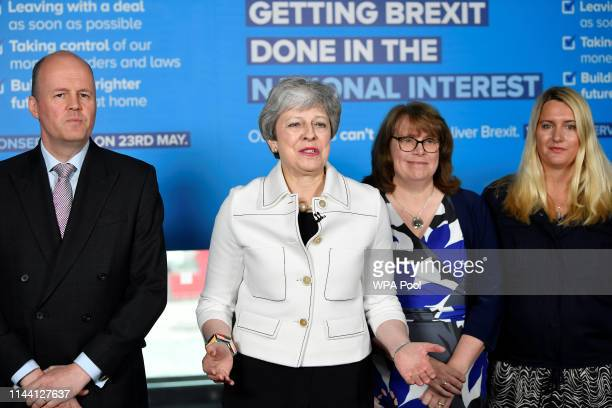 Britain's Prime Minster Theresa May speaks at a EU election campaign event on May 17, 2019 in Bristol, England. The Prime Minister is campaigning in...