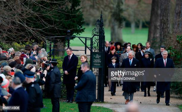 Britain's Prince Andrew Duke of York and Britain's Prince Charles Prince of Wales lead members of the family and guests as wellwishers stand by to...