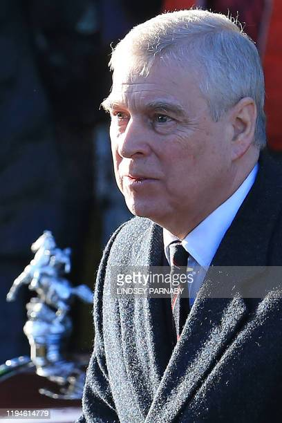 Britain's Prince Andrew Duke of York arrives to attend a church service at St Mary the Virgin Church in Hillington Norfolk eastern England on January...
