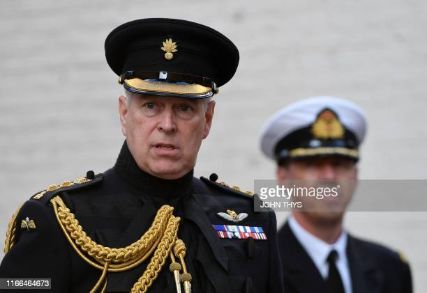 Britain's Prince Andrew Duke of York attends a ceremony commemorating the 75th anniversary of the liberation of Bruges on September 7 2019 in Bruges