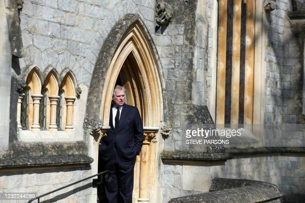 Britain's Prince Andrew, Duke of York, attends Sunday service at the Royal Chapel of All Saints, at Royal Lodge, in Windsor on April 11 two days...