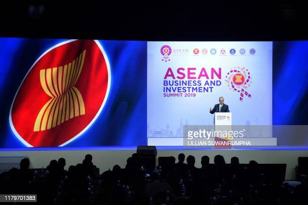 Britain's Prince Andrew, Duke of York speaks at the ASEAN Business and Investment Summit in Bangkok on November 3 on the sidelines of the 35th...