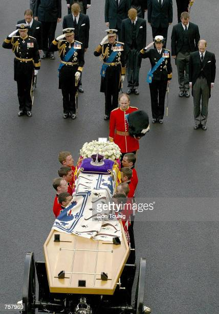 Britain's Prince Andrew Prince Charles Prince Phillip Princess Anne and Prince Edward with Viscount Linley Prince William Prince Harry and Peter...