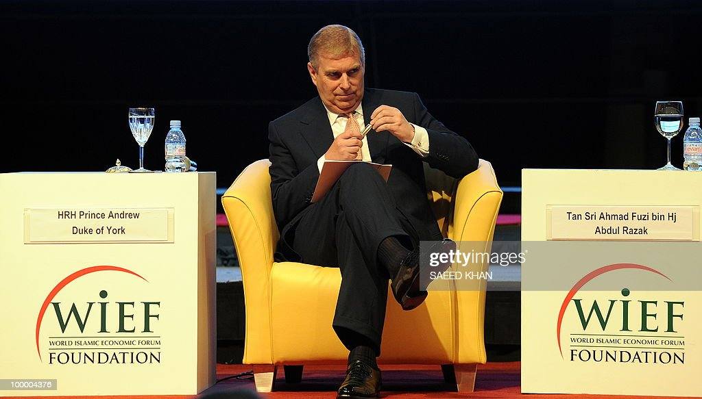 Britain's Prince Andrew waits to address delegates during a luncheon at the 6th World Islamic Economic Forum entitled 'Boosting UK Trade with the Islamic World: The Road Ahead' in Kuala Lumpur on May 20, 2010. Malaysia urged Muslim countries to lead the way in advocating the Islamic finance sector, saying it expects the 'positive trends' for the burgeoning industry to continue.