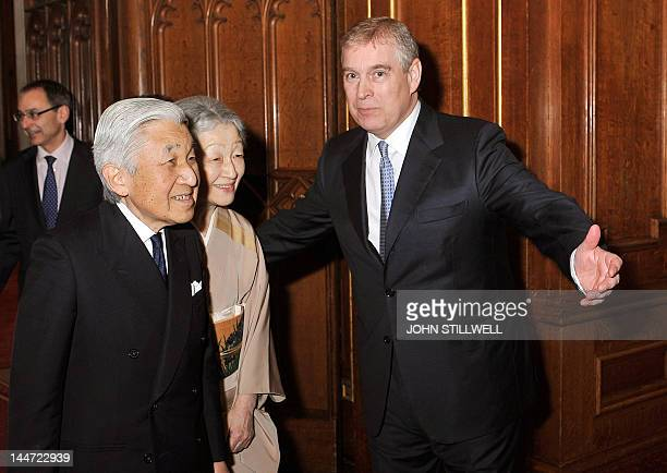 Britain's Prince Andrew welcomes Emperor Akihito and Empress Michiko of Japan to Windsor Castle west of London on May 18 for a Sovereign's Jubilee...