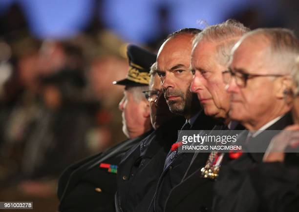 Britain's Prince Charles and French Prime Minister Edouard Philippe attend on April 25 2018 ceremonies marking the 100th anniversary of ANZAC day in...