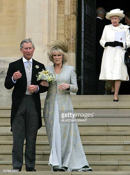 Britain's Prince Charles and his bride Camila Duchess of Cornwall leave St George's Chapel in Windsor following the church blessing of their civil...