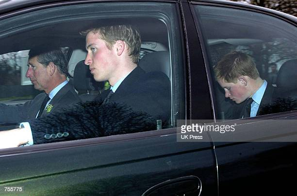 Britain's Prince Charles and his sons Princes William and Harry leaves the Royal Chapel of All Saints in Windsor March 31 2002 after the evensong...