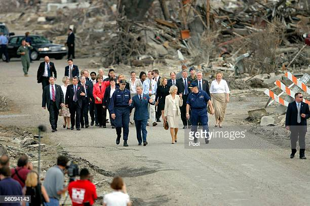 Britain's Prince Charles and his wife Camilla Duchess of Cornwall talk with US Coast Guard Vice Admiral Thad Allen and Captain Thomas Atkin as the...