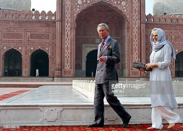 Britain's Prince Charles and his wife Camilla Duchess of Cornwall visit the historical Badshahi Mosque in Lahore 02 Novembrer 2006 Prince Charles and...