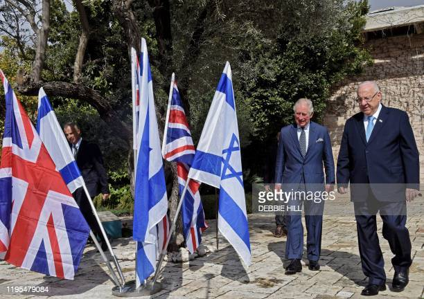 Britain's Prince Charles and Israeli President Reuven Rivlin arrive for a tree planting ceremony at the presidential residence in Jerusalem ahead of...