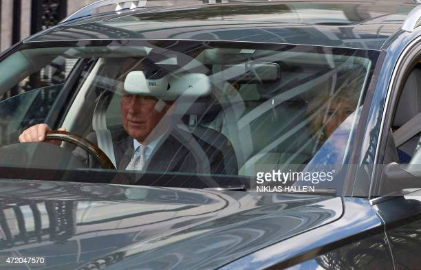 Britain's Prince Charles and wife Camilla Duchess of Cornwall leave Kensington Palace on May 3 2015 in London after visiting Prince William and wife...