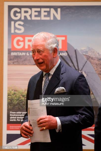 Britain's Prince Charles arrives to attend a round table conference with businessmen leaders in Mumbai on November 14 2019 The Prince of Wales is on...