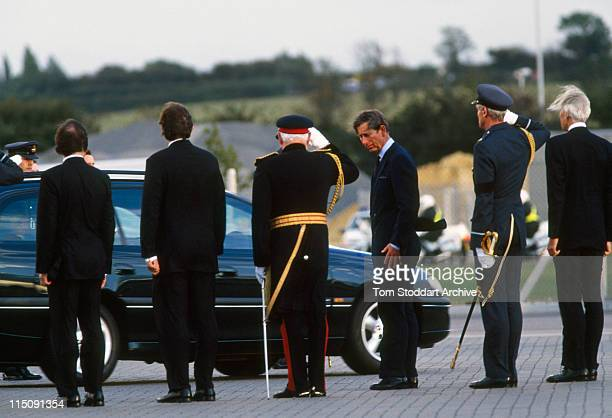 Britain's Prince Charles at RAF Northolt Airport following the arrival of the coffin containing the body of his former wife Diana Princess of Wales...