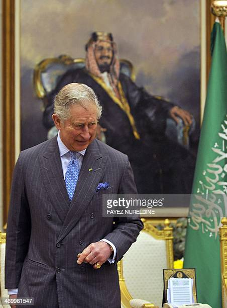 Britain's Prince Charles attends a meeting with Saudi National Guard Minister Mutaib bin Abdullah bin Abdulaziz on February 17 2014 in Riyadh Prince...
