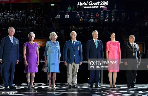 Britain's Prince Charles Commonwealth Games Federation President Louise Martin Camilla the Duchess of Cornwall 2018 Gold Coast Commonwealth Games...