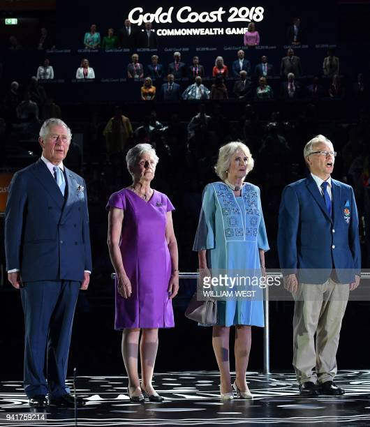 Britain's Prince Charles Commonwealth Games Federation President Louise Martin Camilla the Duchess of Cornwall and 2018 Gold Coast Commonwealth Games...