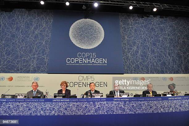 Britain's Prince Charles Danish Minister of UN Climate Change Conference Connie Hedegaard UN SecretaryGeneral Ban KiMoon Danish Prime Minister Lars...