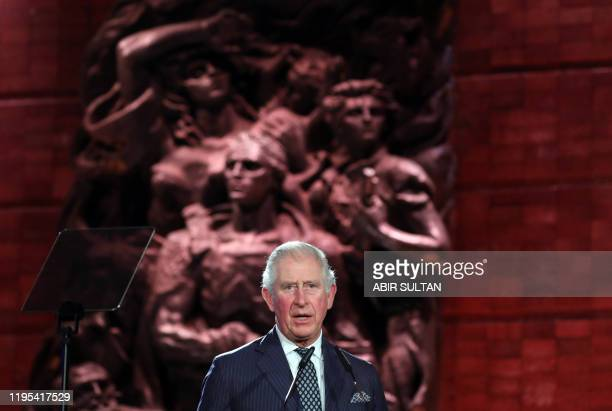 Britain's Prince Charles delivers a speech during the Fifth World Holocaust Forum at the Yad Vashem Holocaust memorial museum in Jerusalem on January...