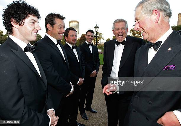 Britain's Prince Charles , Europe Ryder Cup players Rory McIlroy , Lee Westwood , Graeme McDowell , Martin Kaymer , and Captain Colin Montgomerie,...