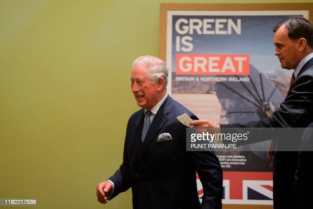 Britain's Prince Charles is welcomed by British High Commissioner to India Sir Dominic Adquist in Mumbai on November 14 2019 The Prince of Wales is...