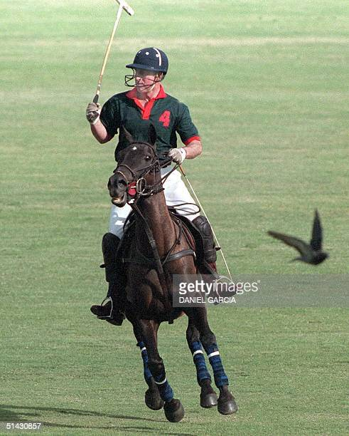 Britain's Prince Charles looks for the ball during a polo match in Buenos Aires 10 March 1999 Prince Charles' Prince of Wales team won the match over...