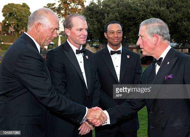 """Britain's Prince Charles , meets American Ryder Cup players Tom Lehman , Steve Stricker and Tiger Woods, before the """"Welcome to Wales 2010 Ryder Cup""""..."""