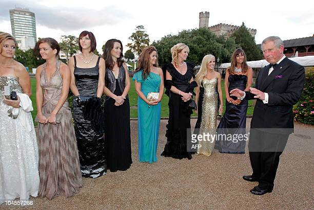 """Britain's Prince Charles , meets the wives and girlfriends of the American Ryder Cup players, before the """"Welcome to Wales 2010 Ryder Cup"""" dinner at..."""