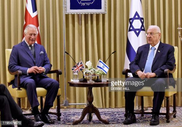Britain's Prince Charles meets with Israeli President Reuven Rivlin at the presidential residence in Jerusalem on the sidelines of the Fifth World...