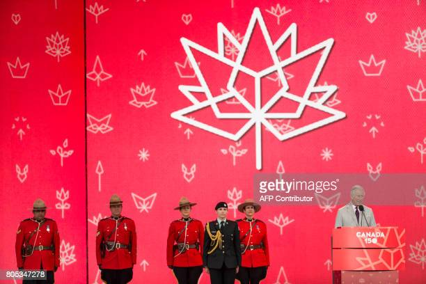 Britain's Prince Charles Prince of Wales addresses a crowd of people as they celebrate Canada's 150th birthday on Parliament Hill in Ottawa Ontario...