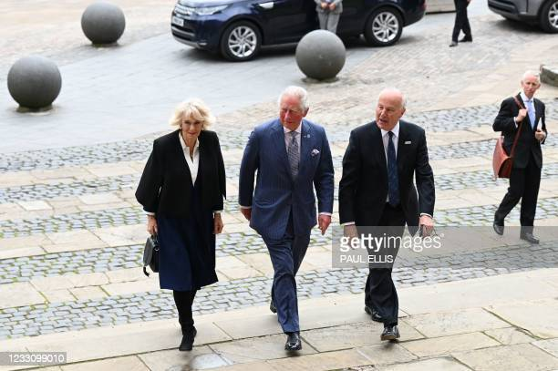 Britain's Prince Charles, Prince of Wales and Britain's Camilla, Duchess of Cornwall are accompanied by Lord-Lieutenant of the West Midlands, John...