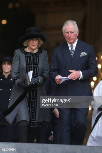 Britain's Prince Charles Prince of Wales and Britain's Camilla Duchess of Cornwall leave after attending the Grenfell Tower National Memorial Service...