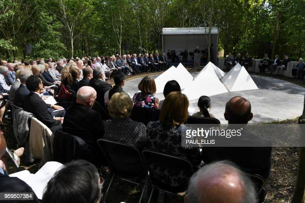 Britain's Prince Charles, Prince of Wales and Britain's Camilla, Duchess of Cornwall attend the dedication service for the National Memorial to...