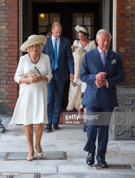 Britain's Prince Charles Prince of Wales and Britain's Camilla Duchess of Cornwall attend the christening of Prince Louis at the Chapel Royal St...