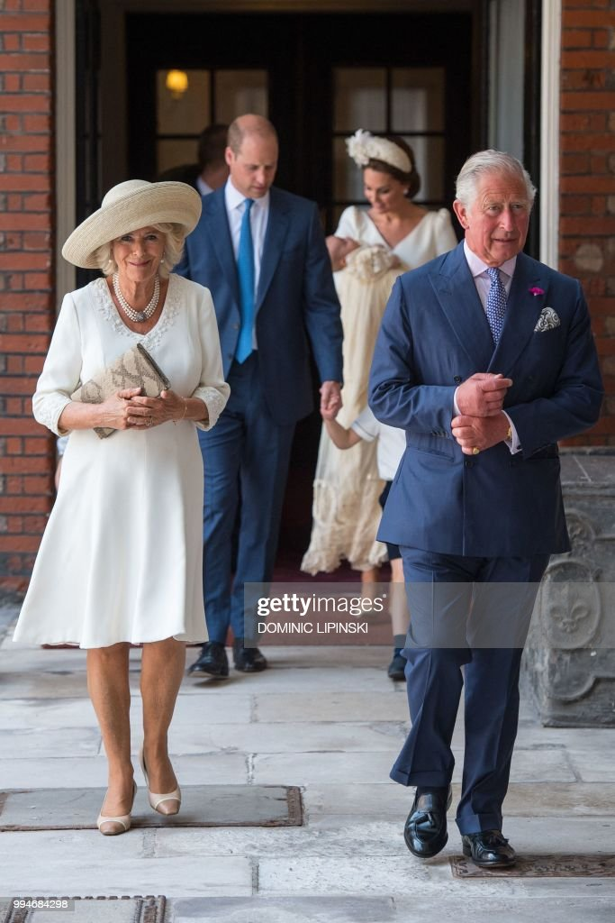Britain's Prince Charles, Prince of Wales (R) and Britain's Camilla, Duchess of Cornwall arrive for the christening of Britain's Prince Louis of Cambridge at the Chapel Royal, St James's Palace, London on July 9, 2018.