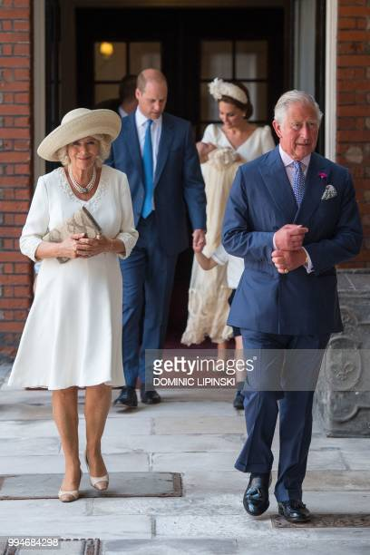 Britain's Prince Charles Prince of Wales and Britain's Camilla Duchess of Cornwall arrive for the christening of Britain's Prince Louis of Cambridge...