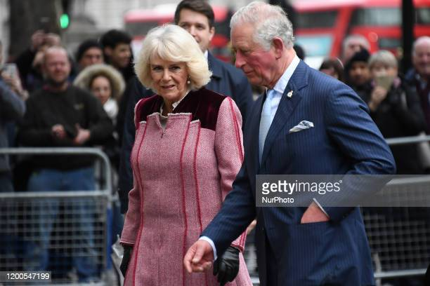 Britains Prince Charles, Prince of Wales and Camilla, Duchess of Cornwall arrive at Cabinet Office, London on February 13, 2020.